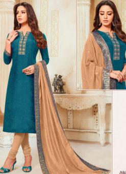Blue Silk Party Wear Churidar Salwar Suit