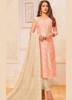 Peach Silk Party Wear Churidar Salwar Suit