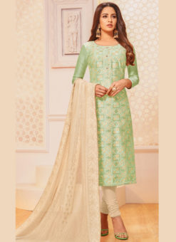 Green Silk Party Wear Churidar Salwar Suit