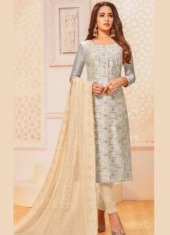 Grey Silk Party Wear Churudar Salwar Suit