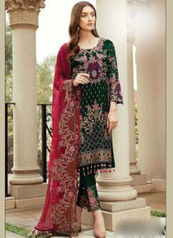 Partywear Green Faux Georgette Designer Pakistani Salwar Suit
