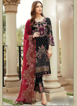 Partywear Black Faux Georgette Designer Pakistani Salwar Suit