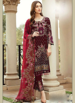 Partywear Maroon Faux Georgette Designer Pakistani Salwar Suit