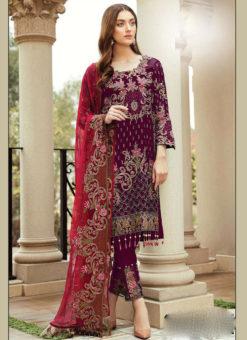 Partywear Red Faux Georgette Designer Pakistani Salwar Suit