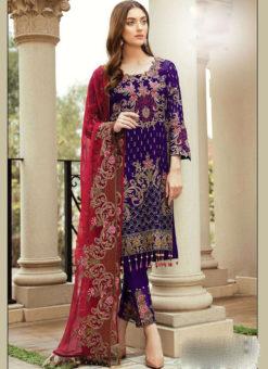Partywear Purple Faux Georgette Designer Pakistani Salwar Suit