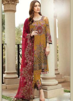 Partywear Dark Yellow  Faux Georgette Designer Pakistani Salwar Suit