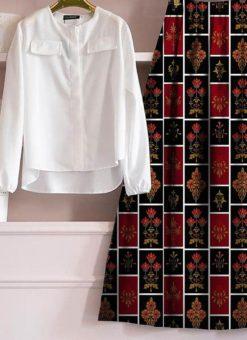 Designer Stitched Dark Blue Rayon Skirt Top