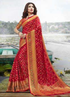 Latest Red Festive Wear Designer Jacquard Silk Saree