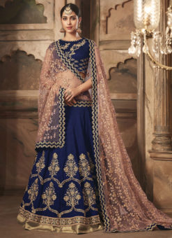 Blue Banarsi Silk Designer Wedding Wear Lehenga Choli