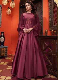 Prurple Silk Designer Party Wear Gown