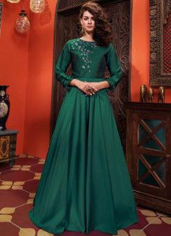 Green Silk Designer Party Wear Gown