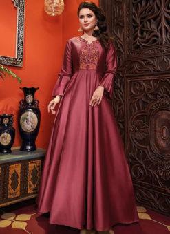 Wine Silk Designer Party Wear Gown