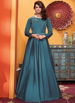 Blue Silk Designer Party Wear Gown