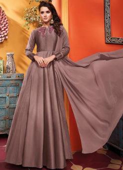 Lavender Silk Designer Party Wear Gown