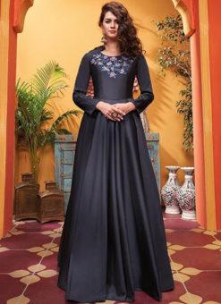 Grey Silk Designer Party Wear Gown
