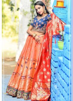 Seductive Orange Banarasi Silk Wedding Wear Designer Lehenga Choli