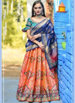 Enticing Orange Banarasi Silk Wedding Wear Designer Lehenga Choli