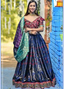 Classy Blue Banarasi Silk Wedding Wear Designer Lehenga Choli