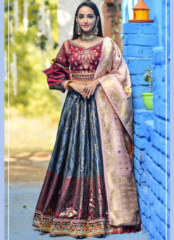 Elegant Blue Banarasi Silk Wedding Wear Designer Lehenga Choli