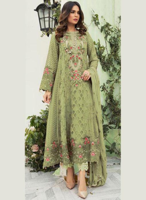 Pista Green Georgette Designer Pakistani Suit