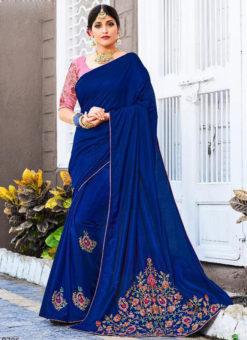 Blue Silk Embroidered Work Party Wear Saree