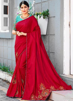 Red Silk Embroidered Work Party Wear Saree
