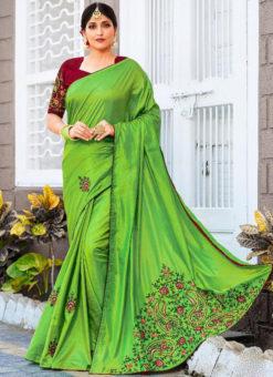 Green Silk Embroidered Work Party Wear Saree