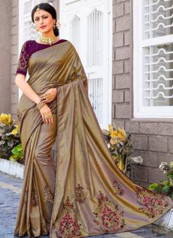 Brown Silk Embroidered Work Party Wear Saree
