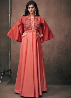Wonderful Redish Satin Designer Wedding Gown