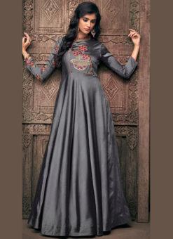 Alluring Grey Satin Designer Wedding Gown