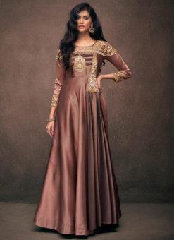 Amazing Brown Satin Designer Wedding Gown