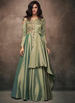 Dazzling Green Satin Designer Wedding Gown