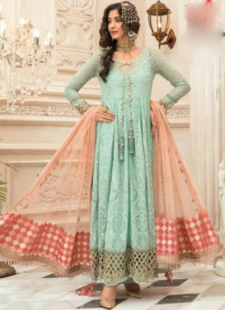 Majestic Sea Green Georgette Designer Anarkali Salwar Suit
