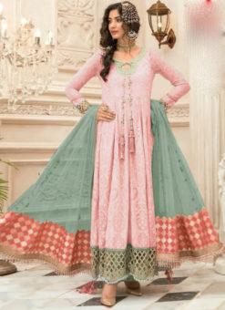 Sublime Pink Georgette Designer Anarkali Salwar Suit