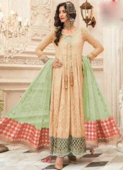 Genius Peach Georgette Designer Anarkali Salwar Suit