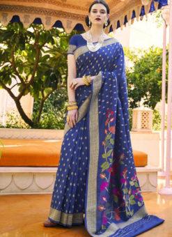 Elegant Blue Silk Printed Traditional Saree