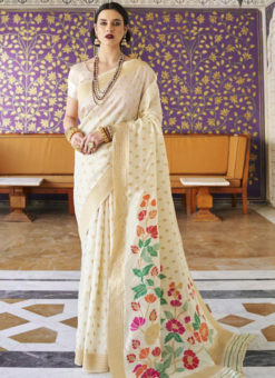 Lovely Off White Silk Printed Traditional Saree