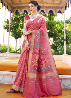 Jazzy Pink Silk Printed Traditional Saree