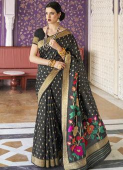 Attractive Black Silk Printed Traditional Saree
