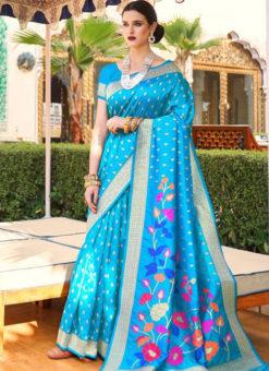 Amazing Sky Blue Silk Printed Traditional Saree