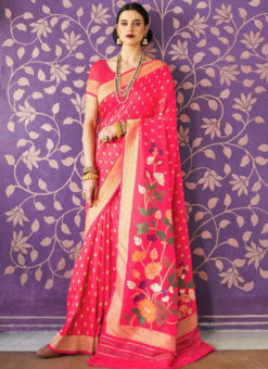 Graceful Pink Silk Printed Traditional Saree