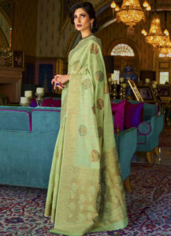 Delightful Pista Green Silk Designer Traditional Saree