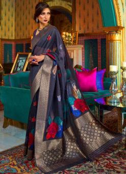 Entrancing Blue Silk Designer Traditional Saree