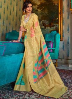 Divine Beige Silk Designer Traditional Saree