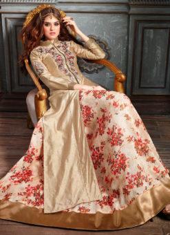 Gold Art Silk Designer Wedding Wear Embroidered Wrok Lehenga Style Suit