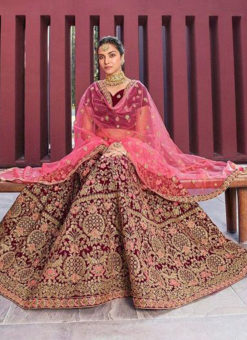 Maroon Velvet Desinger Wedding Wear Lehenga Choli