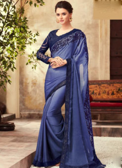 Blue Georgette Embroidred Work Designer Saree