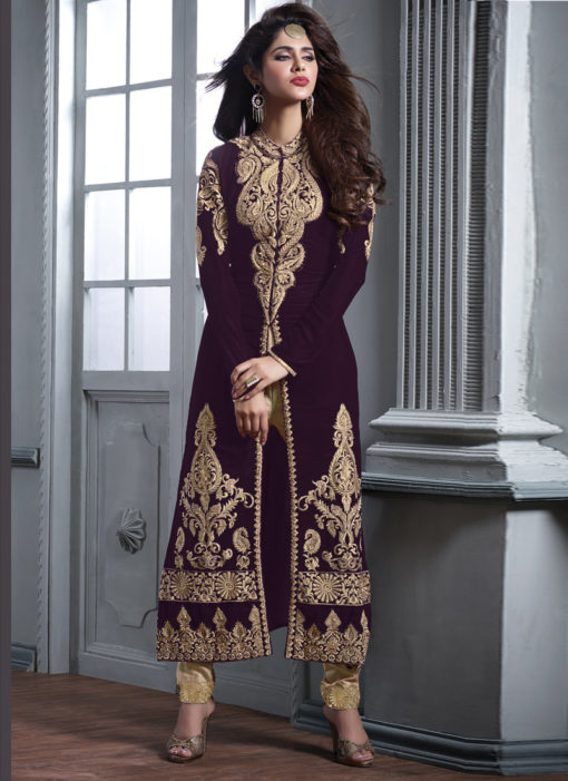 Purple Velve Embroidered Work Designer Party Wear Salwar Kameez