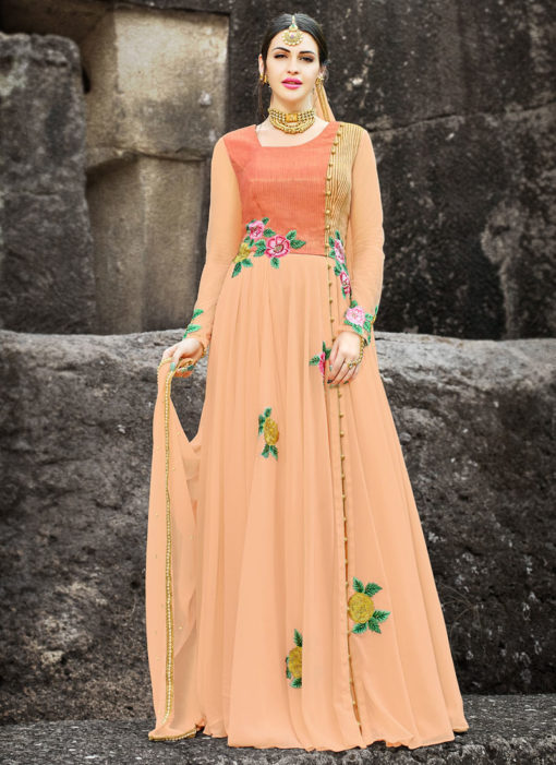 Peach Georgette Embroidered Gown Style Anarkali Suit