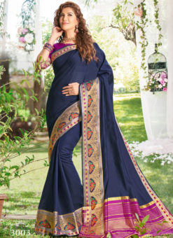Excellent Blue Zari Weaving Traditional Saree